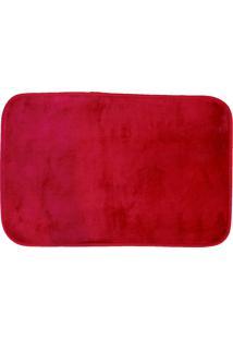 Tapete Para Banheiro Antiderrapante Flannel Vermelho 60X40Cm