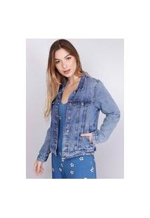 Jaqueta Jeans Tradicional Sky Recortes Azul Médio Gang Feminina