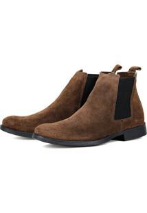 Bota Chelsea Boots Casual Escrete 777 Café Em Couro