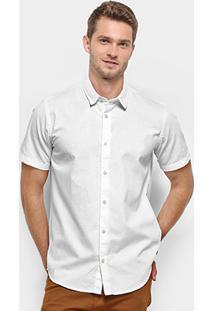 Camisa Manga Curta Reserva Regular Oxford Masculina - Masculino-Branco
