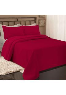 Colcha Piquet Queen Size Com 2 Porta Travesseiros Vermelho