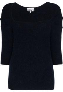 Ganni Blusa Decote Quadrado De Tricô - Azul