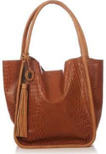 Bolsa Couro Blue Bags Sacola Croco Feminina - Feminino-Caramelo