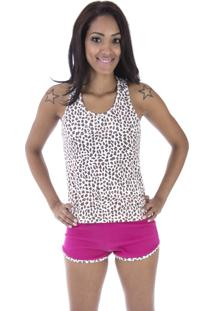 Pijama Curto Inspirate Animal Print Pink