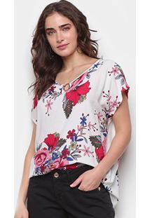 Blusa Ms Fashion Argola Floral Feminina - Feminino-Branco+Rosa