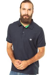 Camisa Polo Zebra Cone Pique Azul Marinho