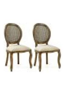 Kit 02 Cadeiras Para Sala De Jantar Cozinha Isla Provençal Oregon Linho Rústico Bege - Gran Belo