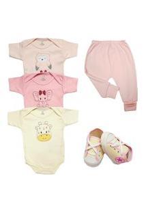 Body Bordado Enxoval Roupa Bebê Kit 5 Pçs Mijão E Sapatinho Rosa