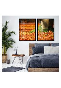 Quadro 65X90Cm Árvores Com Folha De Outono Moldura Preta Com Vidro