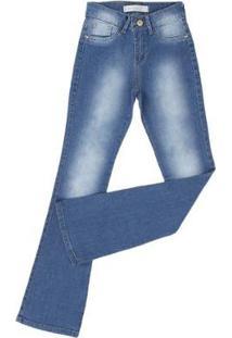 Calça Jeans King Farm Flare Claro Feminina - Feminino-Azul Claro