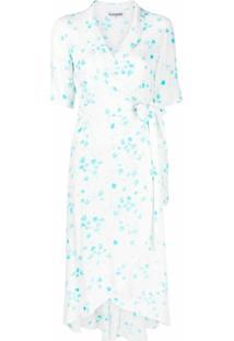Ganni Vestido Envelope Com Estampa Floral De Crepe - Branco