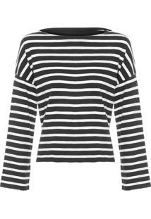 Camiseta Feminina Listras - Preto