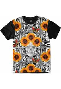 Camiseta Bsc Padrões E Listras Caveira Girassol Sublimada Masculina - Masculino