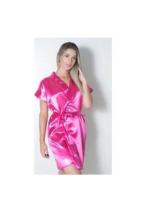 Robe De Cetim Linha Noite Noiva Pink