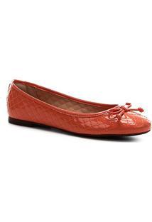 Sapatilha Shoestock Verniz Matelassê Bico Redondo Feminina - Feminino-Laranja