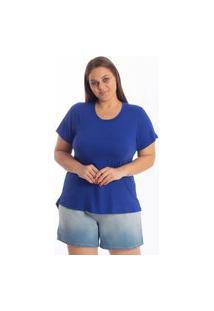 Blusa Mullet Gola Redonda Lisa Feminina Plus Size Tapa Bumbum Academia Royal