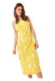 Vestido Seda Frente Única Mandacaru Est Mandacaru Amarelo