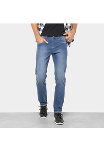 Calça Jeans Reta Preton Lavagem Clara Cintura Média Masculina - Masculino-Azul