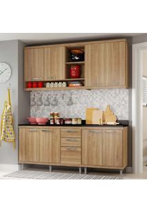 Cozinha Compacta Com Tampo 4 Peças 5819-S10T Sicília - Multimóveis - Argila Acetinado