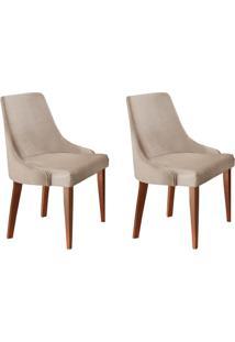 Conjunto Com 2 Cadeiras De Jantar Esmeralda I Imbuia E Off White