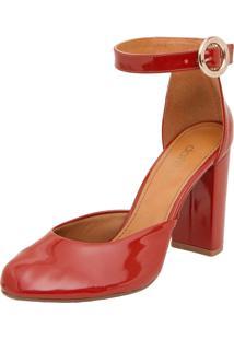 Scarpin Dafiti Shoes Bico Redondo Salto Grosso Laranja