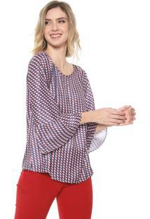 Blusa Mercatto Estampada Azul-Marinho/Vermelha