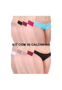 Kit 30 Calcinha Sem Costura Isa Lingerie Fio E Tanga Multicolorida