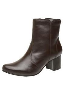 Bota Cano Curto Ousy Shoes Salto Quadrado Couro Café