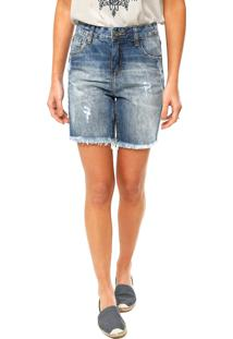 Bermuda Jeans Cantão Estonada Azul