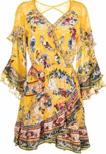 Camilla Vestido Com Babados E Estampa Floral - Amarelo