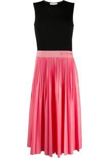 Givenchy Vestido Midi Com Pregas E Logo No Cós - Rosa