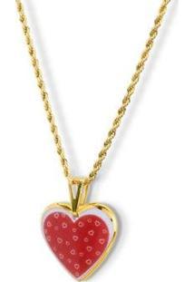 Pingente Medalha Coração Ouro Red Love Design Medalhas - Unissex