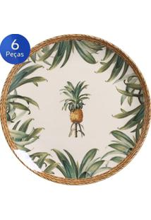 Conjunto Pratos Rasos Pineapple Natural 6 Peças - Porto Brasil - Verde / Bege