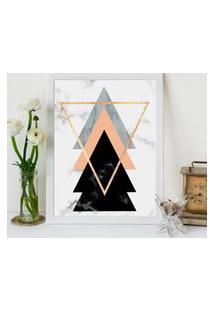 Quadro Decorativo Com Moldura Escandinavo Triângulos Branco - 20X25Cm