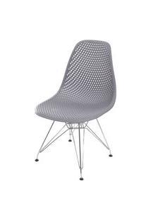 Cadeira Eames Furadinha Cor Cinza Com Base Cromada - 55989 Cinza
