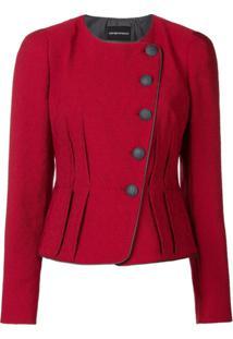 Emporio Armani Jaqueta Com Textura - Vermelho