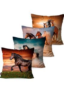Kit Com 4 Capas Para Almofadas Decorativas Marrom Cavalos 45X45Cm Pump Up