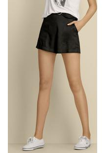 Shorts Feminino Em Tecido De Viscose Com Cintura Alta