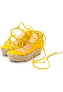 Sandália Anabela Flor Da Pele 4041 Amarelo