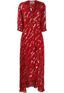 Ba&Sh Vestido Longo Com Estampa De Leopardo - Vermelho