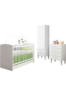 Quarto De Bebê Completo Com Berço, Cômoda, Guarda-Roupa E Nicho Docinho – Art In Móveis - Branco