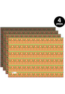 Jogo Americano Mdecore Natal Renas 40X28 Cm Amarelo 4Pçs