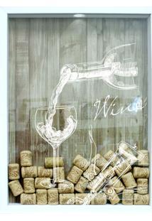 Quadro Porta Rolhas Wine Branco