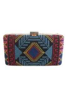 Bolsa Real Arte Clutch Bordado Étnico Multicolorida