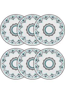Conjunto 6 Pratos Rasos Oxford Coup Serene Porcelana Preto E Verde
