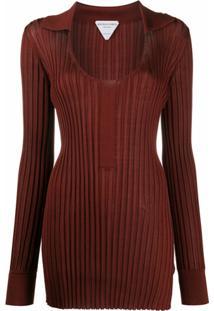 Bottega Veneta Blusa Decote Em U De Tricô Canelado - Vermelho