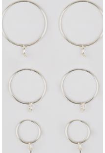 Kit De 3 Brincos Femininos De Argola Folheados Com Pingentes Dourado - Único