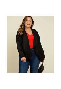 Blazer Plus Size Feminino Suede Assimétrico Marisa
