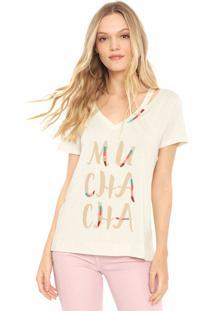 Camiseta Lez A Lez Bordada Bege