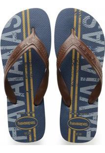 Chinelo Masculina Havaianas Top Max Logomania - Masculino-Azul
